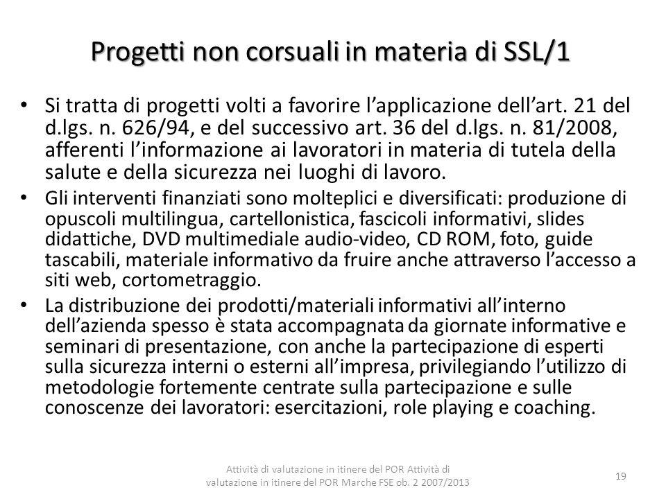 Progetti non corsuali in materia di SSL/1