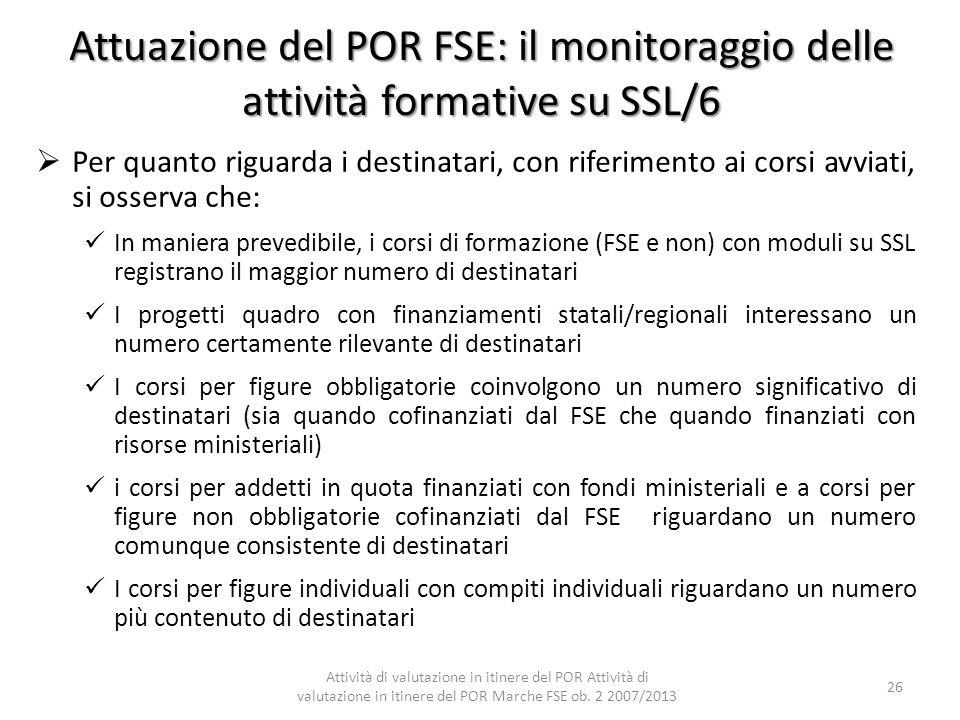 Attuazione del POR FSE: il monitoraggio delle attività formative su SSL/6