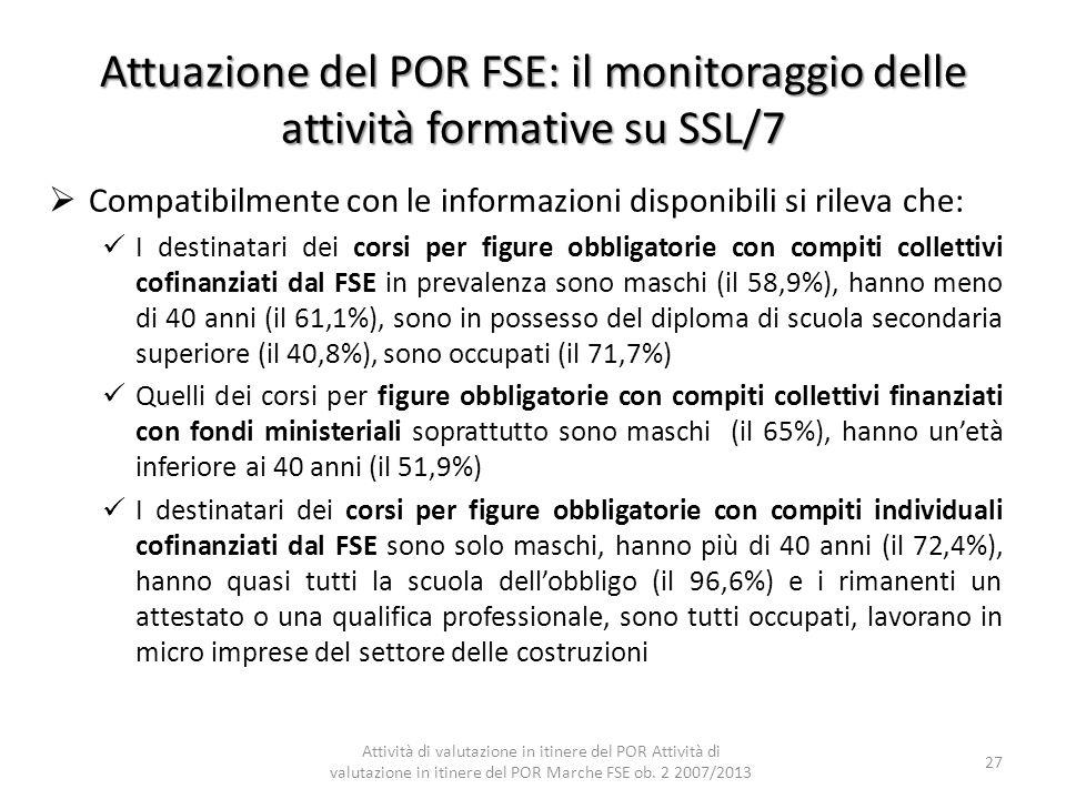 Attuazione del POR FSE: il monitoraggio delle attività formative su SSL/7