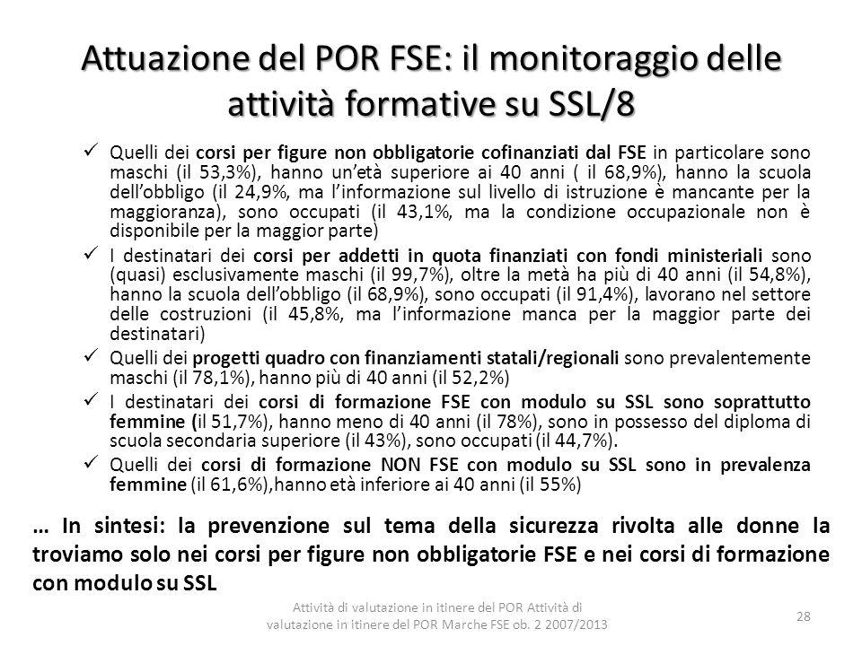Attuazione del POR FSE: il monitoraggio delle attività formative su SSL/8
