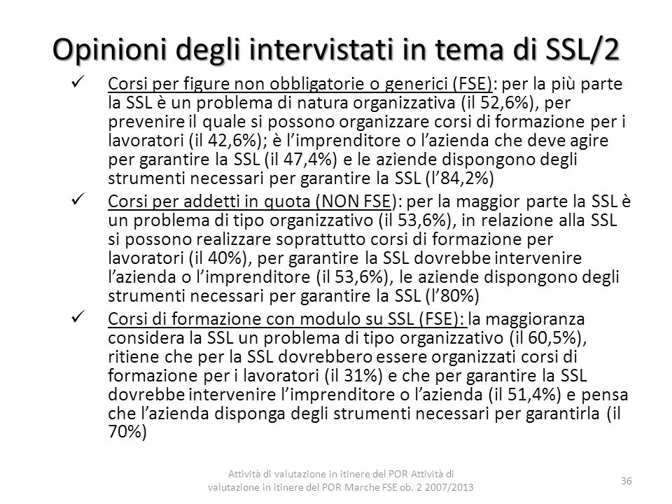 Opinioni degli intervistati in tema di SSL/2