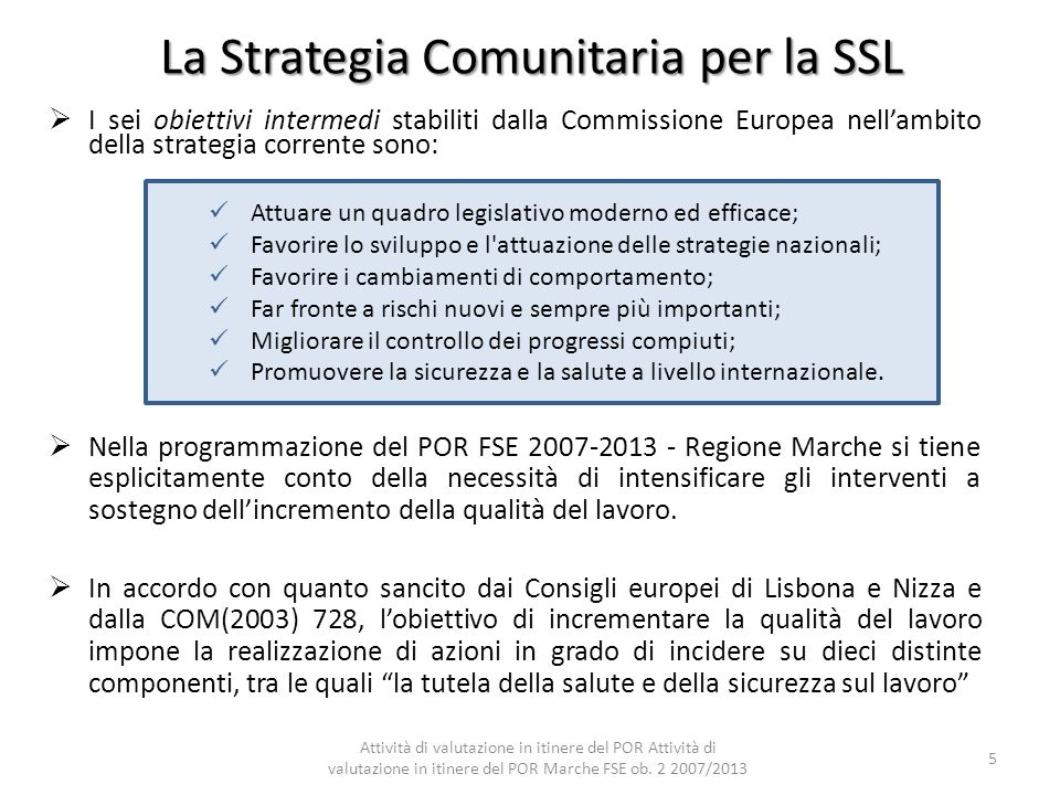 La Strategia Comunitaria per la SSL