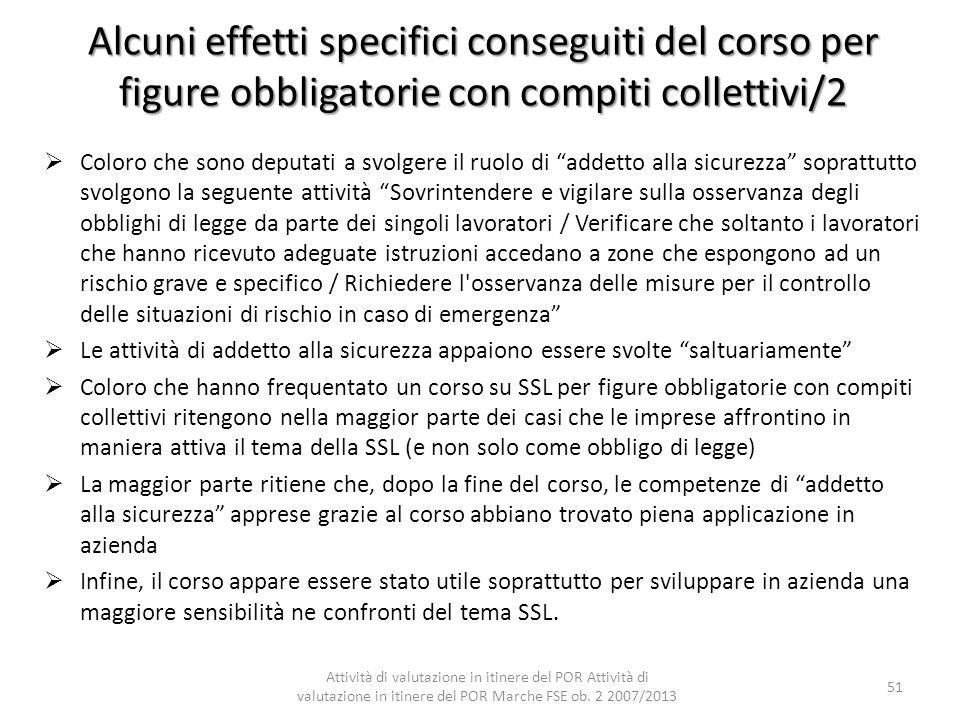Alcuni effetti specifici conseguiti del corso per figure obbligatorie con compiti collettivi/2