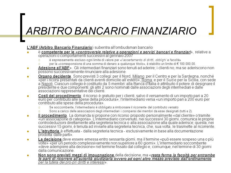 ARBITRO BANCARIO FINANZIARIO