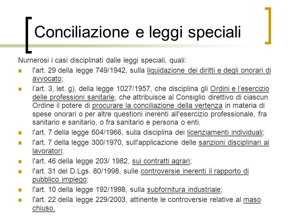 Conciliazione e leggi speciali