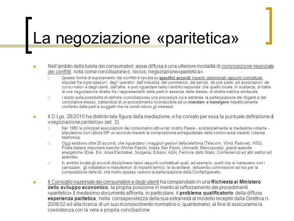 La negoziazione «paritetica»