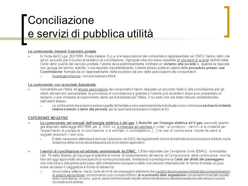 Conciliazione e servizi di pubblica utilità