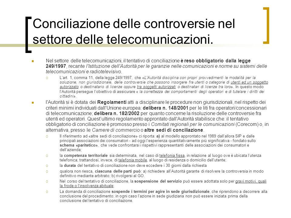Conciliazione delle controversie nel settore delle telecomunicazioni.