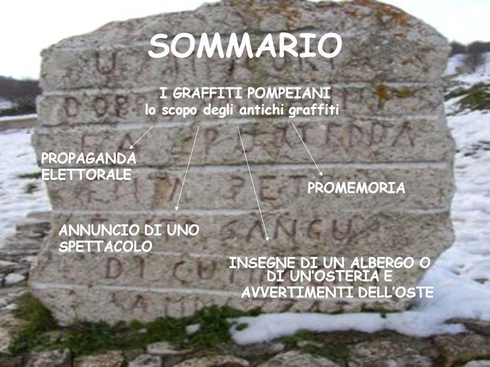 SOMMARIO I GRAFFITI POMPEIANI lo scopo degli antichi graffiti