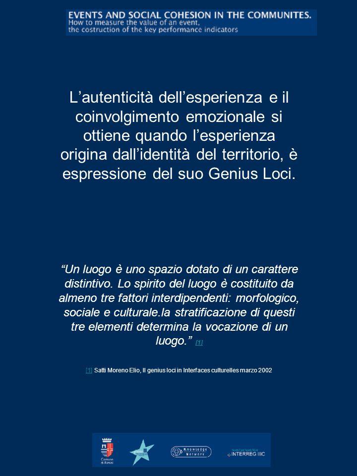 L'autenticità dell'esperienza e il coinvolgimento emozionale si ottiene quando l'esperienza origina dall'identità del territorio, è espressione del suo Genius Loci.