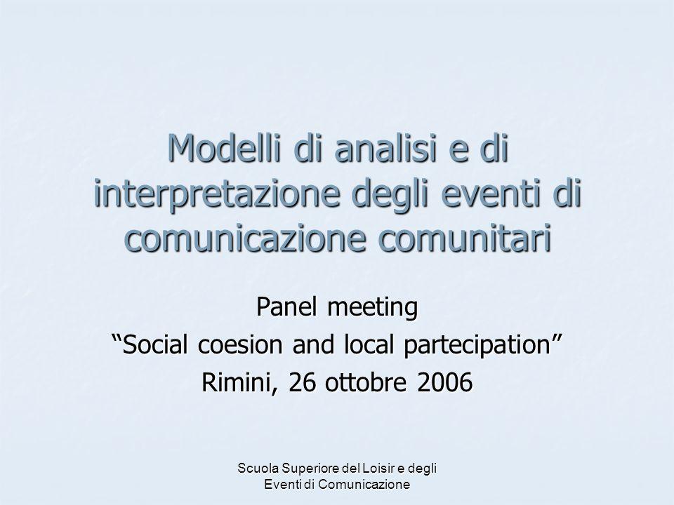 Modelli di analisi e di interpretazione degli eventi di comunicazione comunitari