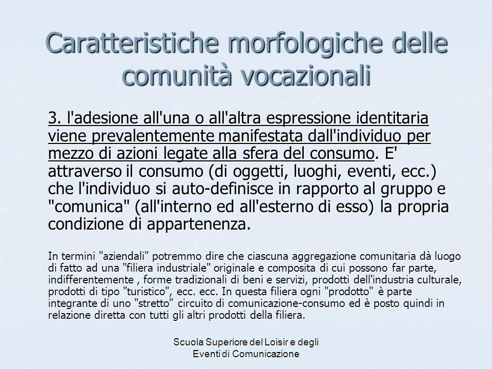 Caratteristiche morfologiche delle comunità vocazionali