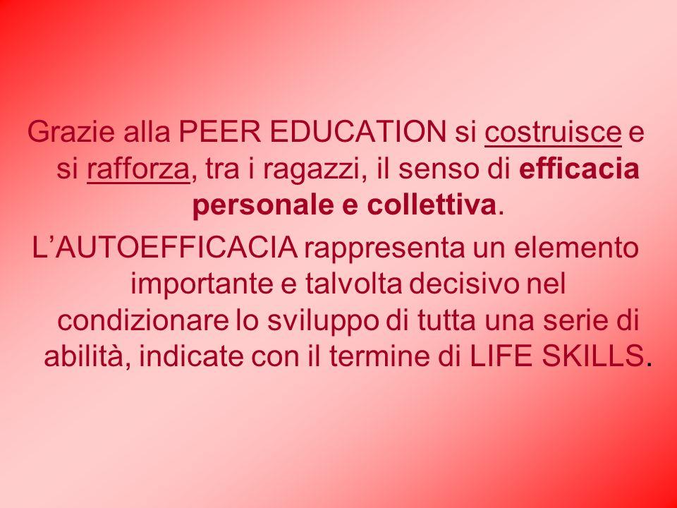 Grazie alla PEER EDUCATION si costruisce e si rafforza, tra i ragazzi, il senso di efficacia personale e collettiva.