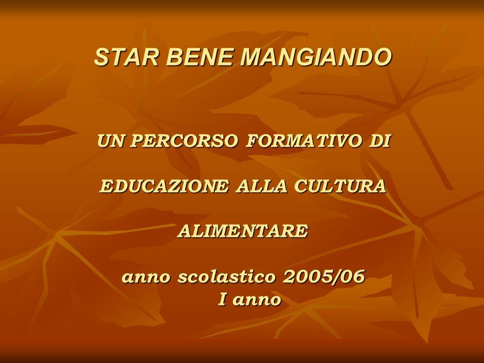 STAR BENE MANGIANDO UN PERCORSO FORMATIVO DI EDUCAZIONE ALLA CULTURA ALIMENTARE anno scolastico 2005/06 I anno