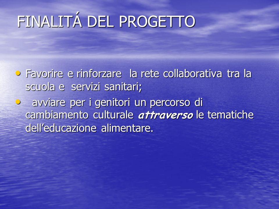FINALITÁ DEL PROGETTO Favorire e rinforzare la rete collaborativa tra la scuola e servizi sanitari;