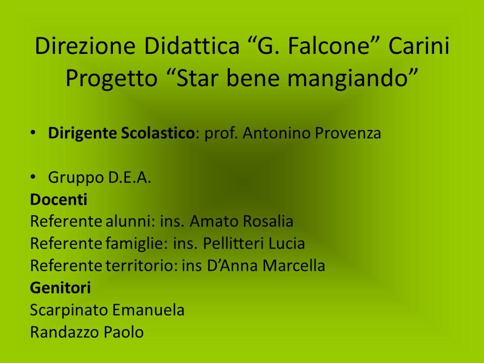 Direzione Didattica G. Falcone Carini Progetto Star bene mangiando