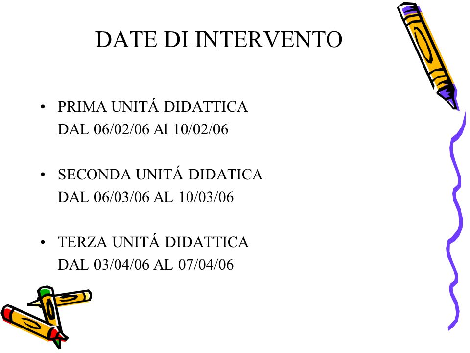 DATE DI INTERVENTO PRIMA UNITÁ DIDATTICA DAL 06/02/06 Al 10/02/06