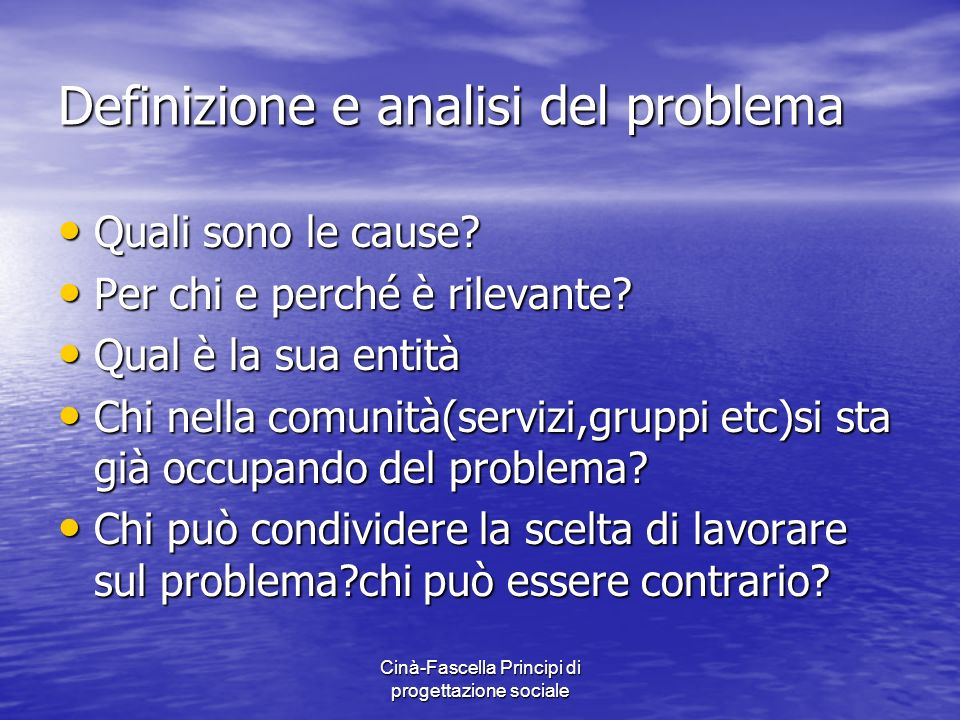 Definizione e analisi del problema