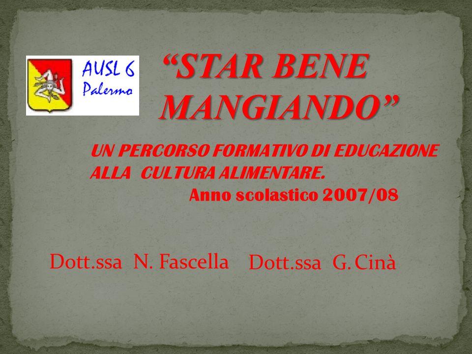 STAR BENE MANGIANDO Dott.ssa N. Fascella Dott.ssa G. Cinà