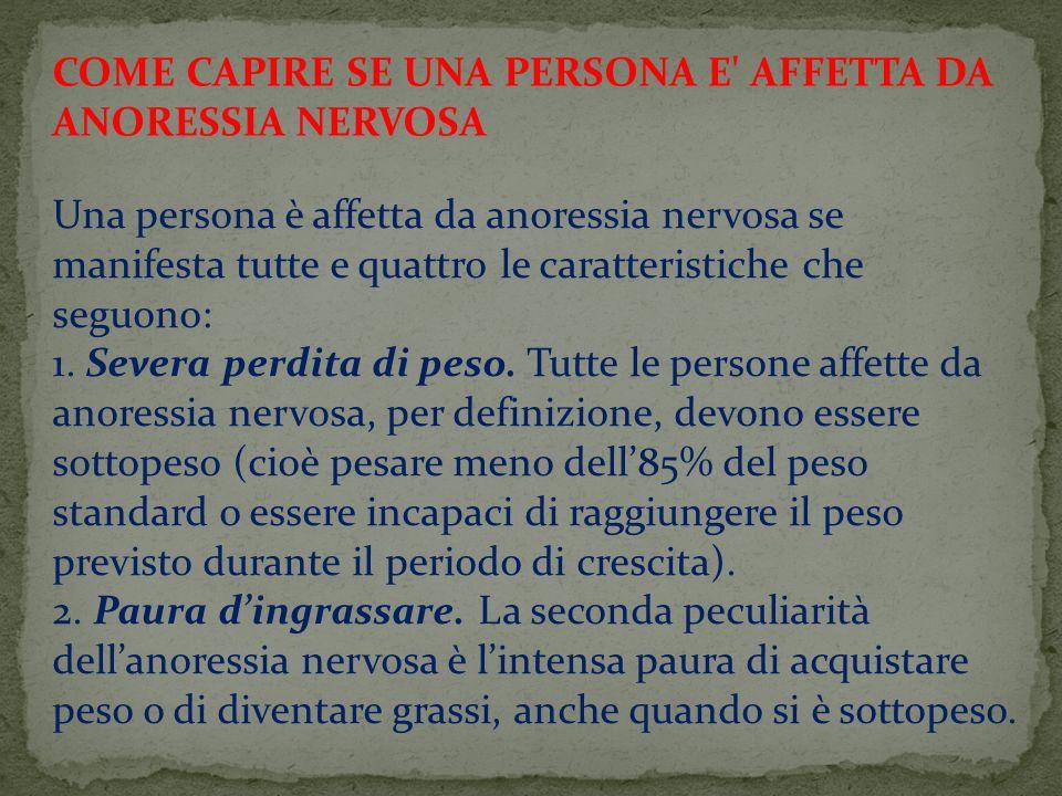 COME CAPIRE SE UNA PERSONA E AFFETTA DA ANORESSIA NERVOSA