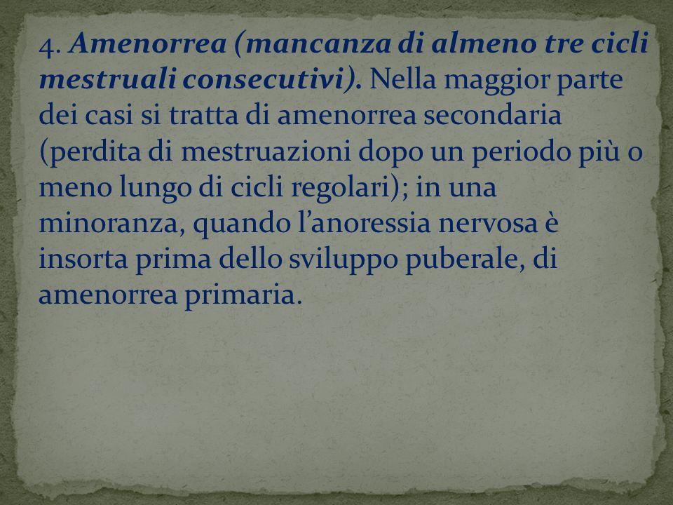 4. Amenorrea (mancanza di almeno tre cicli mestruali consecutivi)