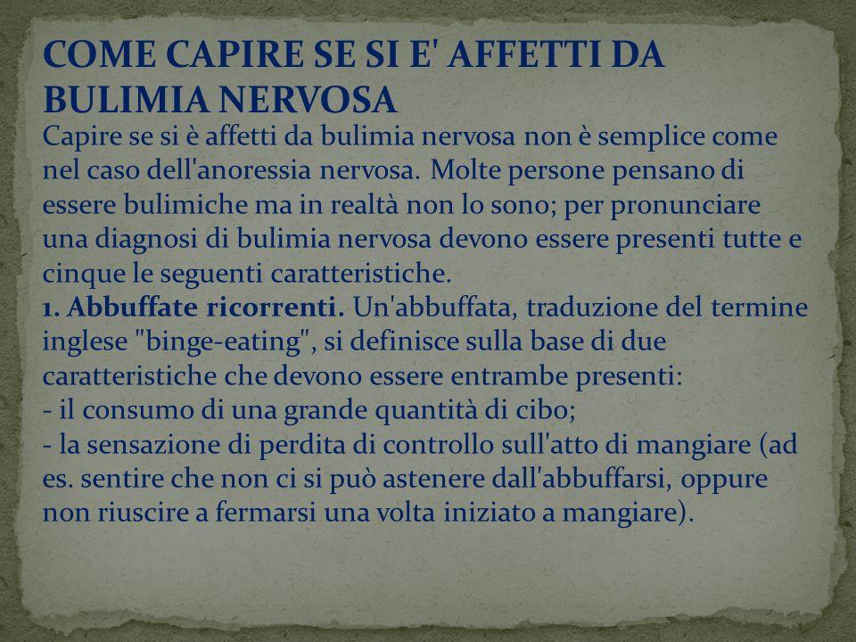 COME CAPIRE SE SI E AFFETTI DA BULIMIA NERVOSA
