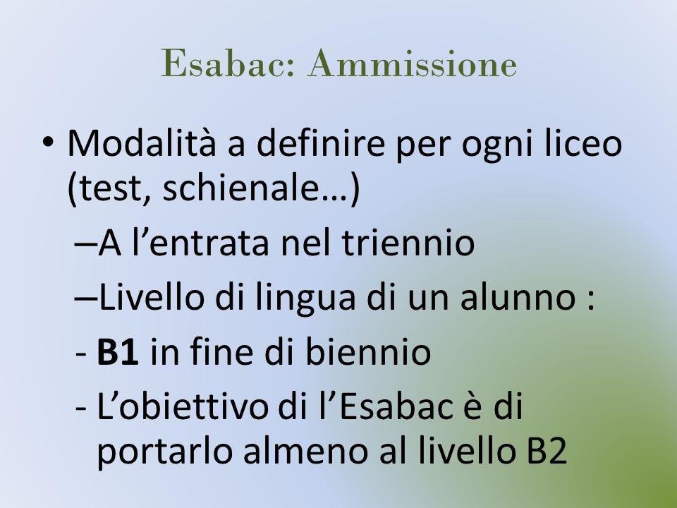 Esabac: Ammissione Modalità a definire per ogni liceo (test, schienale…) A l'entrata nel triennio.