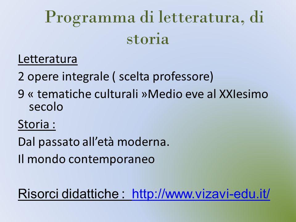 Programma di letteratura, di storia