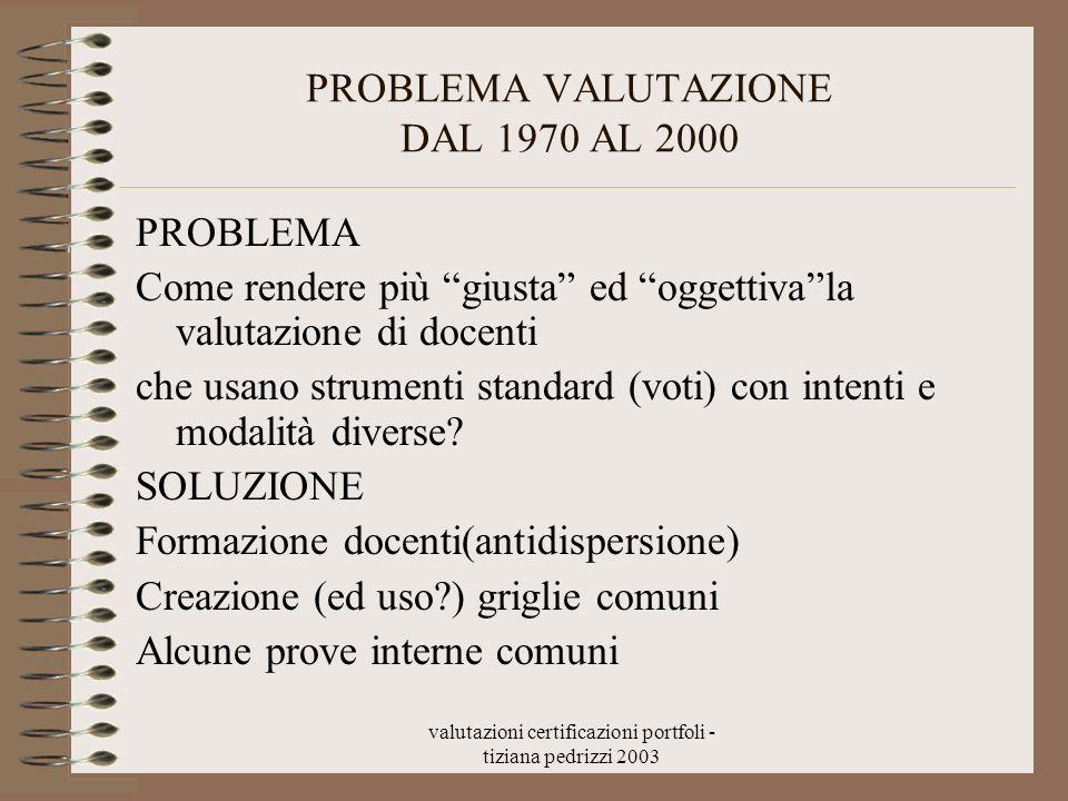 PROBLEMA VALUTAZIONE DAL 1970 AL 2000