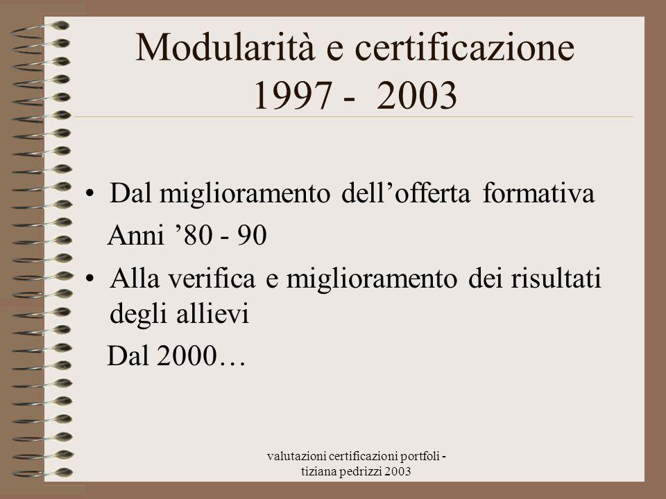Modularità e certificazione 1997 - 2003