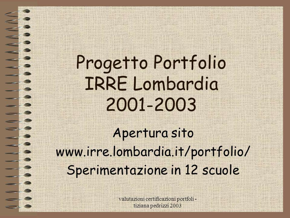 Progetto Portfolio IRRE Lombardia 2001-2003