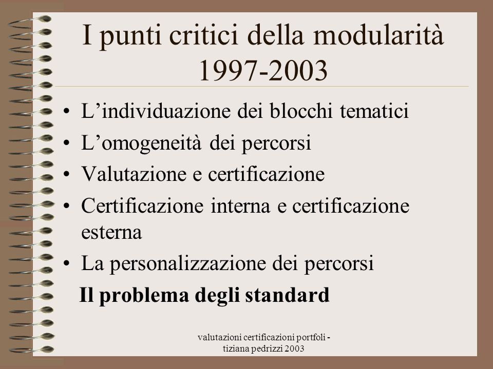 I punti critici della modularità 1997-2003
