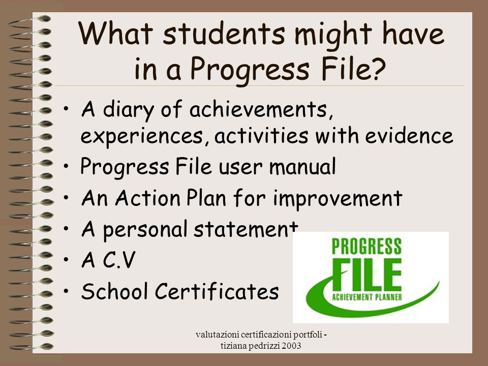 What students might have in a Progress File