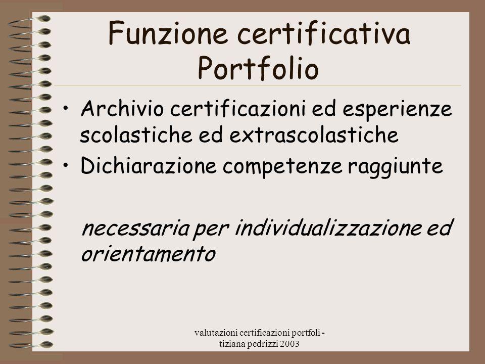 Funzione certificativa Portfolio