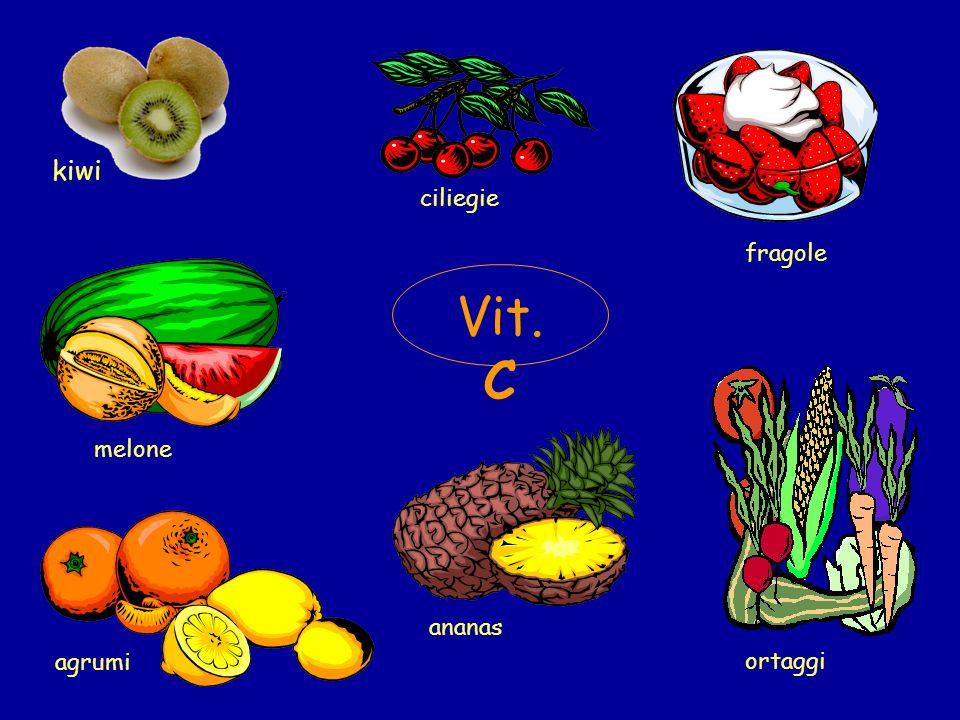 kiwi ciliegie fragole melone Vit. C ortaggi ananas agrumi