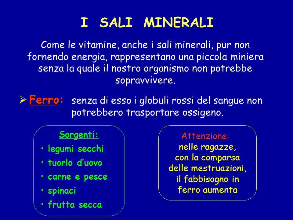 Come le vitamine, anche i sali minerali, pur non fornendo energia, rappresentano una piccola miniera senza la quale il nostro organismo non potrebbe sopravvivere.