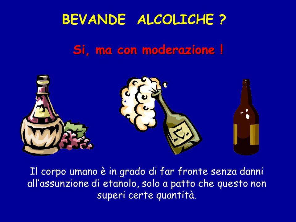 BEVANDE ALCOLICHE Si, ma con moderazione !