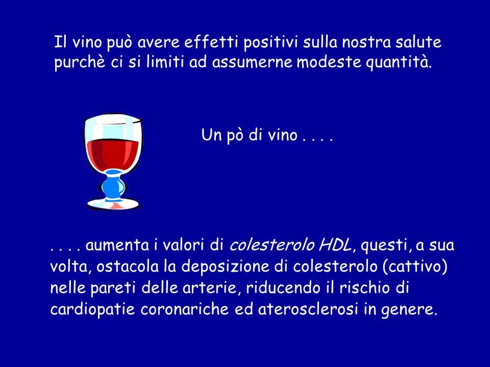 Il vino può avere effetti positivi sulla nostra salute purchè ci si limiti ad assumerne modeste quantità.