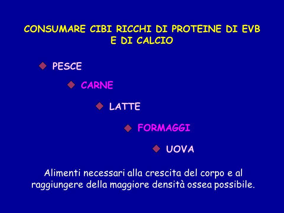 CONSUMARE CIBI RICCHI DI PROTEINE DI EVB E DI CALCIO