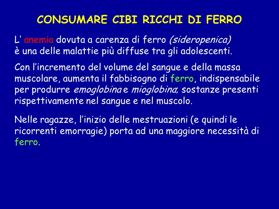 CONSUMARE CIBI RICCHI DI FERRO