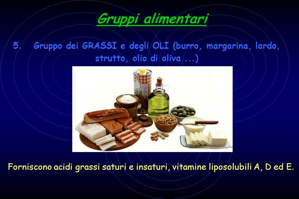 Gruppi alimentari 5. Gruppo dei GRASSI e degli OLI (burro, margarina, lardo, strutto, olio di oliva ...)