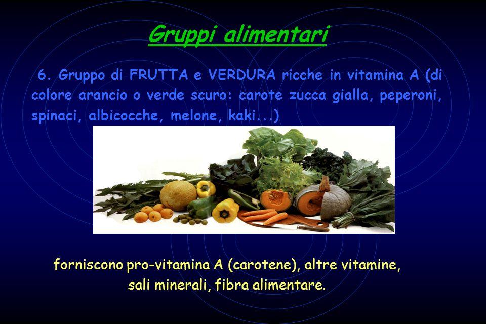 6. Gruppo di FRUTTA e VERDURA ricche in vitamina A (di colore arancio o verde scuro: carote zucca gialla, peperoni, spinaci, albicocche, melone, kaki...)