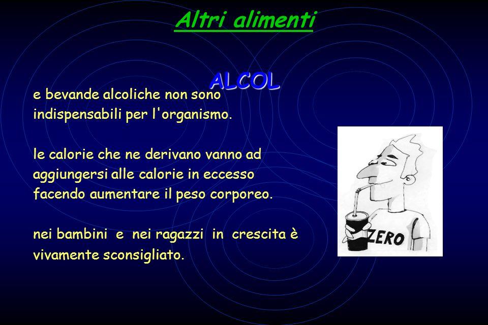 Altri alimenti ALCOL Le bevande alcoliche non sono indispensabili per l organismo.
