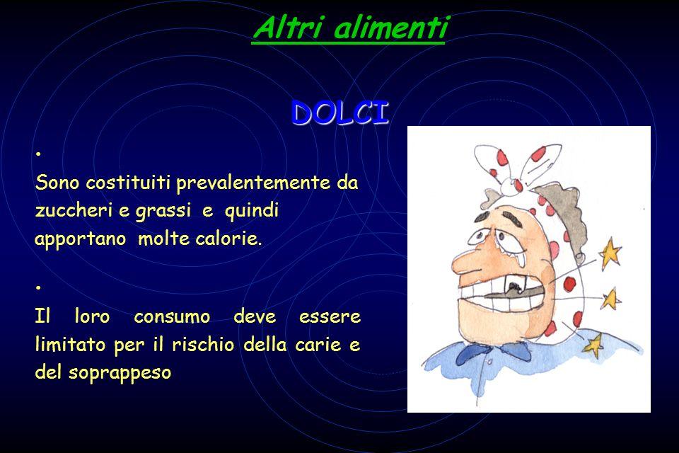 Altri alimenti DOLCI Sono costituiti prevalentemente da zuccheri e grassi e quindi apportano molte calorie.