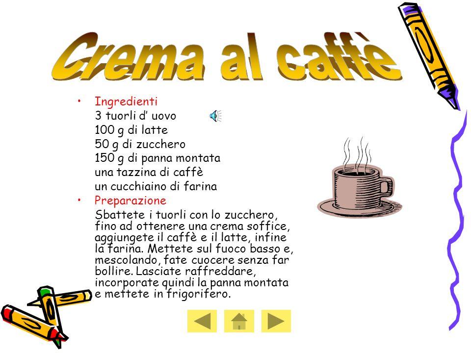 Crema al caffè Ingredienti 3 tuorli d' uovo 100 g di latte