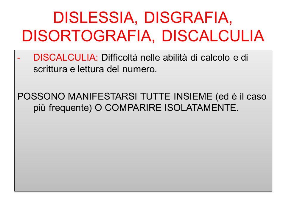 DISLESSIA, DISGRAFIA, DISORTOGRAFIA, DISCALCULIA