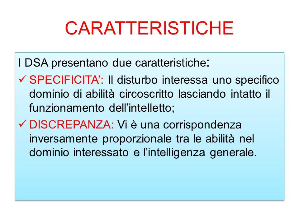 CARATTERISTICHE I DSA presentano due caratteristiche: