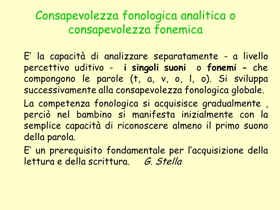 Consapevolezza fonologica analitica o consapevolezza fonemica