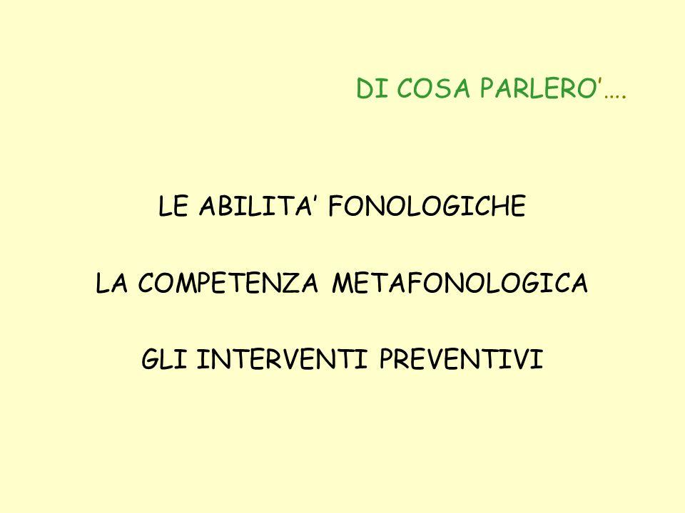LE ABILITA' FONOLOGICHE LA COMPETENZA METAFONOLOGICA