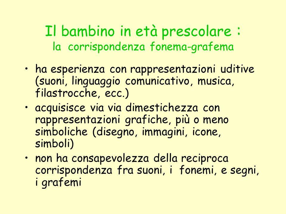 Il bambino in età prescolare : la corrispondenza fonema-grafema